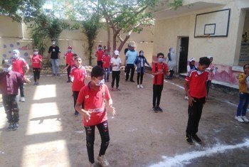 埃及法尤姆省童工活动中心的孩子们。