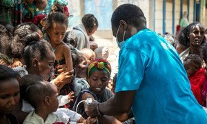 The UNICEF Nutrition Specialist and Emergency Response Team screen for malnutrition in Adikeh in Wajirat in Southern Tigray in Ethiopia.