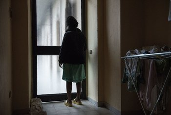 A Nigerian girl, pregnant with twins after being forced into prostitution following her arrival in Italy via the Mediterranean Sea route from Libya, stands in a home run by an Italian NGO where she is being sheltered in Asti, Piedmont region, Italy. (2017)