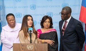 (L to R) Naledi Pandor, Minister of International Relations and Cooperation of South Africa; Nadia Murad, Nobel Peace Prize Laureate; Pramila Patten, Special Representative of the Secretary-General on Sexual Violence in Conflict; and Dr. Denis Mukwege, Nobel Peace Prize Laureate, brief reporters at UN Headquarters in New York.