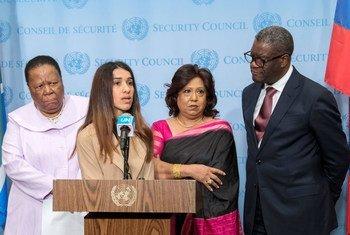 Naledi Pandor, Ministre des relations internationales d'Afrique du Sud, Nadia Murad, Prix Nobel de la paix, Pramila Patten, Représentante de l'ONU sur les violences sexuelles liées aux conflits, et Dr Denis Mukwege, Prix Nobel de la paix.