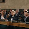 File photo features members of the Syrian Constitutional Committee in the Council Chamber at the United Nations in Geneva