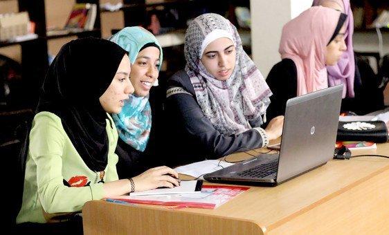 Girls at a Block by Block workshop in Gaza design improvements to their neighbourhood