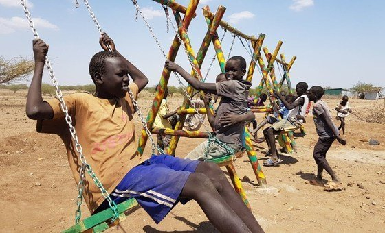 Children at Kalobeyei Integrated Settlement in Kenya enjoy public spaces, improved following Block by Block workshops