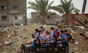 Des enfants palestiniens sur un tuk-tuk les amenant sur le chemin de l'école.