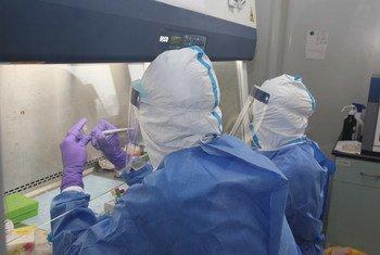Un test en laboratoire pour extraire l'acide nucléique du nouveau coronavirus.
