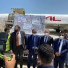 UN and Yemeni officials receive the first  COVID-19 vaccines supplied through COVAX at Aden international airport.