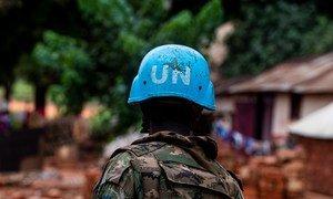 Un Casque bleu de la MINUSCA à Bangassou, en République centrafricaine (photo d'archives).