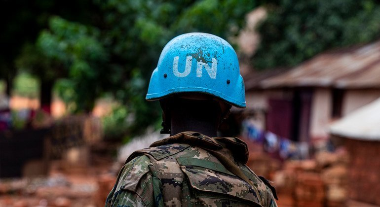 MINUSCA peacekeepers on guard in the city of Bangassou, Central African Republic, January 15, 2021.