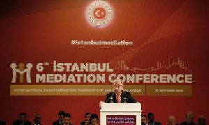 Secretary-General António Guterres (at podium) delivers opening remarks at the 6th Istanbul Mediation Conference in Turkey on 31 October 2019.