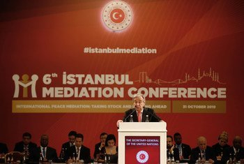El Secretario General de la ONU, António Guterres,  durante el discurso de apertura en la Sexta Conferencia de Mediación de Estambul, celebrada en Turquía el 31 de octubre de 2019.