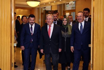Secretary-General António Guterres (2nd left) and Turkish Foreign Minister Mevlut Cavusoglu (right) attend the Sixth Istanbul Mediation Conference, Turkey. (31 October 2019)