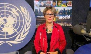 Специальный докладчик ООН по вопросу о внесудебных казнях Аньес Калламар в студии Службы новостей ООН в Нью-Йорке.