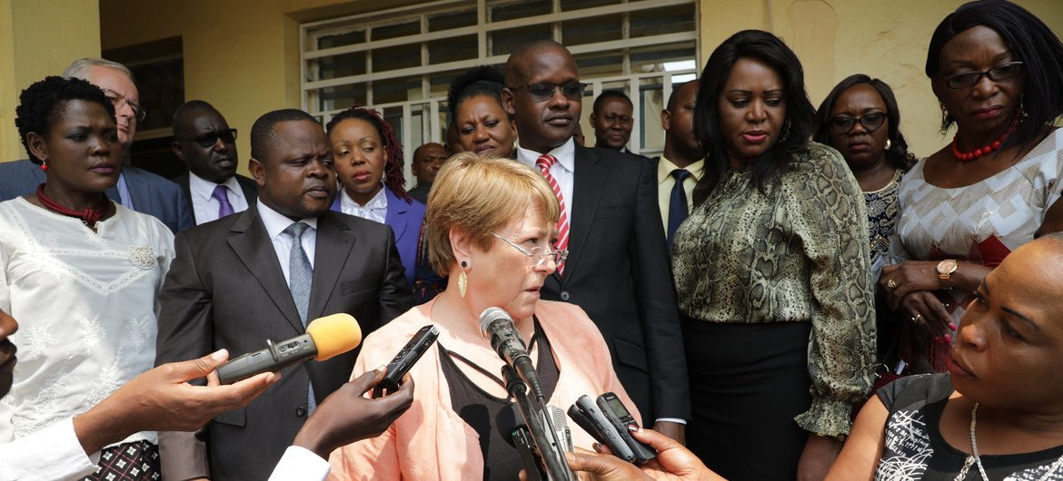 UN High Commissioner for Human Rights Michelle Bachelet speaks to the Congolese press during a visit to Ituri, DRC (file photo).