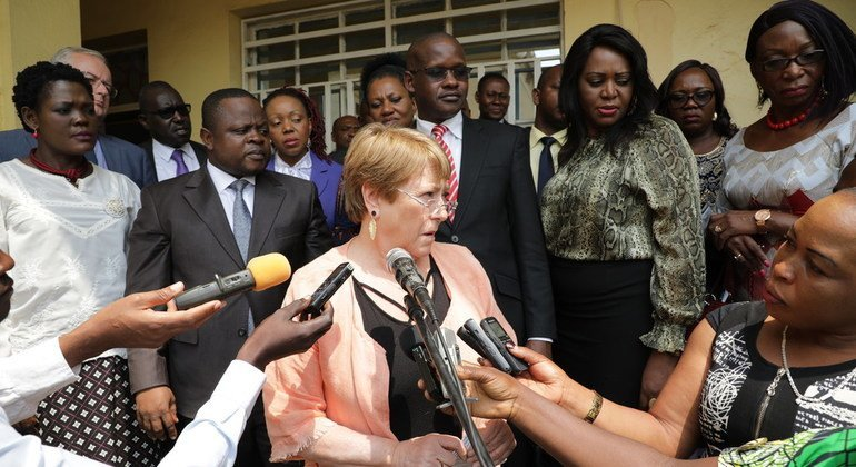 UN High Commissioner for Human Rights Michelle Bachelet speks to the Congolese press during her visit to Ituri, DRC.