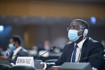 Dieudonné Désiré Sougouri, the Representative of Burkina Faso addresses the 43rd session of the Human Rights Council. 15 June 2020.