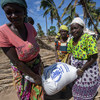Affected communities receive WFP food relief in Nacate village, in Cabo Delgado province, Mozambique.
