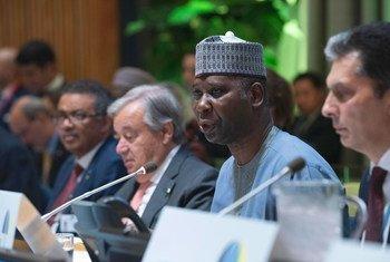 Tijjani Muhammad-Bande, presidente da 74ª sessão da Assembleia Geral das Nações Unidas, discursa na reunião de alto nível sobre Cobertura Universal de Saúde.