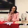 باسمة يوسف تعرض تجربتها في قهر سرطان الثدي في مقرّ الأمم المتحدة في نيويورك.
