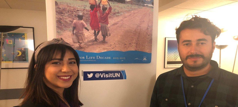صورة للشابة بيسان زرزر والشاب صالح دهمان، وقد شاركا في الجولة في مقرّ الأمم المتحدة