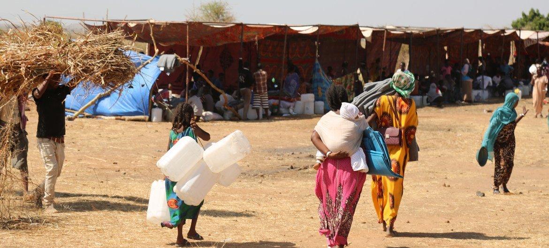 لاجئون وصلوا حديثا من إقليم تيغراي في إثيوبيا إلى مخيم أم ركبة في السودان يحملون المستلزمات للبقاء في المأوى.