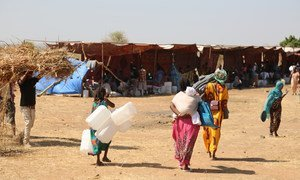 Recently arrived refugees from Tigray in Ethiopia bring supplies to help set up their shelter in Raquba camp, in Kassala, Sudan.