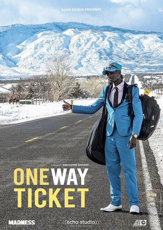 Poster for One Way Ticket, a documentary about two Congolese refugees resettling in the US, shown at the 2019 Global Migration Film Festival.