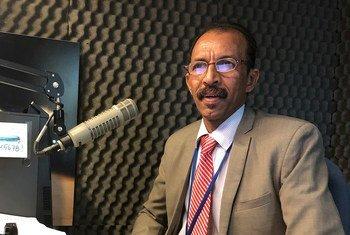 المدير العام لجهاز المركزي للإحصاء في جمهورية السودان، على محمد عباس أحمد. اجتماعات مفوضية الإحصاء التابعة للمنظمة الأممية المقامة في نيويورك في بداية مارس/آذار 2020.