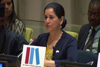 الشيخة انتصار الصباح خلال فعاليات اليوم العالمي للتعليم في الأمم المتحدة