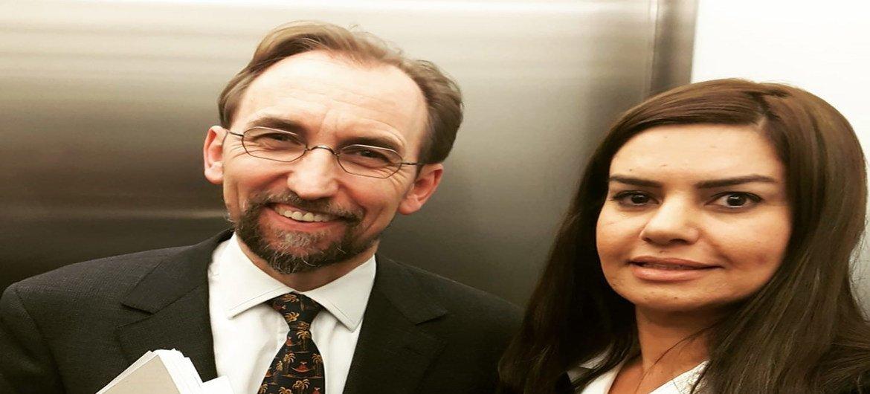 Джамиля Махди с бывшим Верховным комиссаром ООН по правам человека Зейдом Раадом аль-Хусейном.