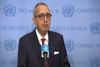 مندوب تونس الدائم لدى الأمم المتحدة، المنصف البعتي، لدى تسلم تونس المقعد غير الدائم في مجلس الأمن (2/كانون ثاني-يناير/2020)