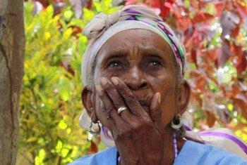 Une femme participe à un groupe de discussion avec le PAM dans le département du Sud-Est d'Haïti en août 2019.