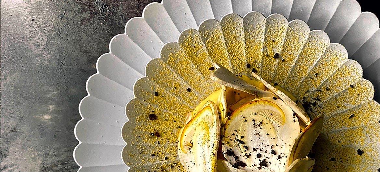 Repas gastronomique réalisé par le chef Florent Pietravalle .
