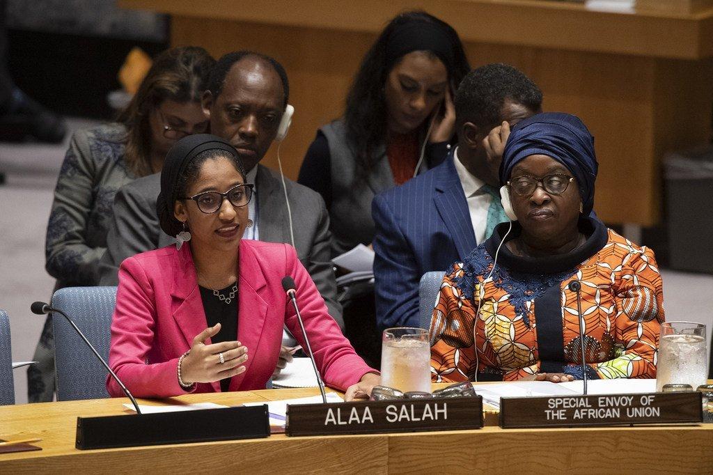 الناشطة السودانية الشابة آلاء صلاح في اجتماع مجلس الأمن الدولي حول المرأة والسلام والأمن: نحو التنفيذ الناجح لجدول الأعمال المتعلق بالمرأة