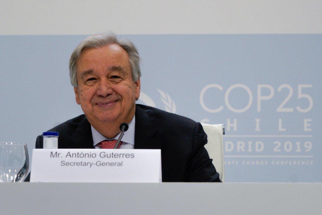 2019年12月1日,联合国秘书长在马德里举行的第25届联合国气候变化大会前举行的新闻发布会上发表讲话。