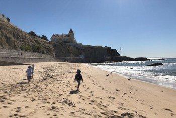 Beach clean-up at Praia da Poça, a popular little beach at the start of the Estoril - Cascais coast, in Portugal.