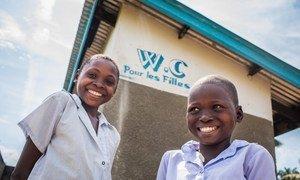 Student-members of the Health Brigade outside the latrines of Dikolelayi Primary School in Kananga, Kasai-Occidental province, Democratic Republic of Congo (DRC)