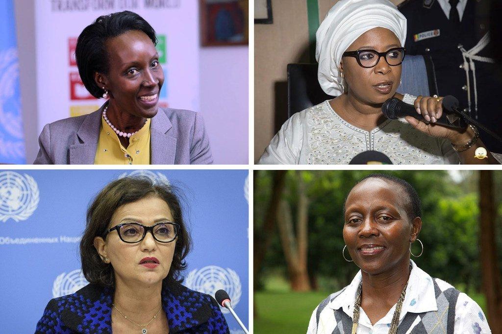 De haut en bas et de gauche à droite : Giovanie Biha (Burundi), Représentante spéciale adjointe pour l'Afrique de l'Ouest et le Sahel  (UNOWAS) ; Diene Keita (Guinée), Directrice exécutive adjointe en charge des programmes à UNFPA ; Najat Rochdi (Maroc), Coordonnatrice spéciale adjointe pour le Liban (UNSCOL) ; et Elizabeth Maruma Mrema (Tanzanie), Secrétaire exécutive de la Convention sur la diversité biologique (CBD)