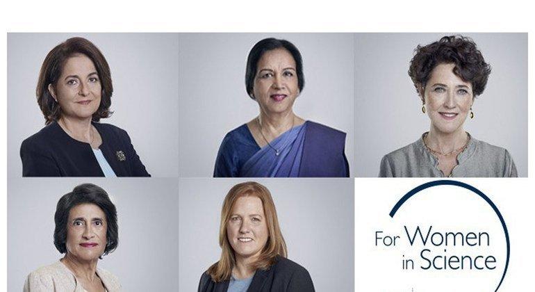 Professeure Abla Mehio Sibai, docteure Firdausi Qadri, professeure Edith Heard, professeure Esperanza Martínez-Romero et professeure Kristi Anseth sont les lauréates du 22e Prix L'Oréal-UNESCO pour les femmes et la science.
