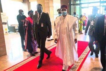 Arrivée du président du Niger et président en exercice de la CEDEAO, SEM Mahamadou Issoufou, le 23 juillet, à l'hôtel Sheraton de Bamako