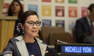 Michelle Yeoh, Goodwill Ambassador for the United Nations Development Programme (UNDP), addresses the high-level General Assembly plenary meeting on peacebuilding and sustaining peace