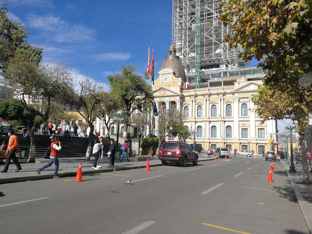 玻利维亚拉巴斯的议会大楼。