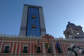 The Great House of the People (building in background ) and the Government Palace in La Paz, Bolivia.