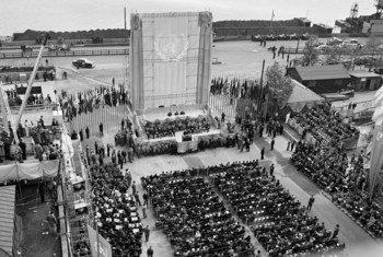 El edificio del Secretariado de la ONU, un hito de la arquitectura moderna, en construcción.