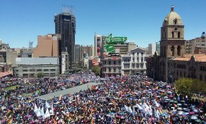 Citizens rally at the Plaza San Francisco in La Paz, Bolivia last November during a wave of popular protests following the last national election.