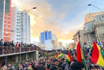 Protestas en La Paz, Bolivia.