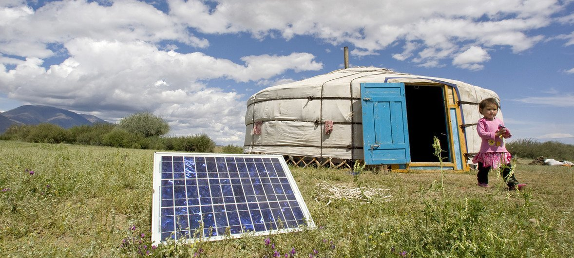 A family in Uvs Province, Mongolia, using a solar panel to generate power for their ger, a traditional Mongolian tent