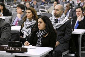 Membres de la délégation palestinienne lors d'une réunion spéciale à l'occasion de la Journée internationale de solidarité avec le peuple palestinien.