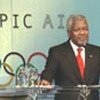 Mr. Annan addressing group of Olympic athletes