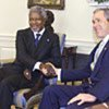 Kofi Annan, President Bush at the White House today